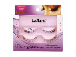 72 Bulk Laflare Vu2d 100% Human Hair Velvet Remy Double Under Lower Eyelashes