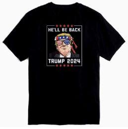 12 Units of Trump 2024 He'll Be Back Black Tshirts - Mens T-Shirts
