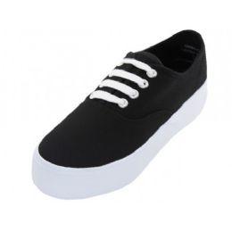 12 Units of Women's Lace Up Flatform Canvas Shoe Black Color - Women's Sneakers