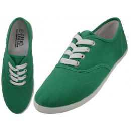 24 Units of Women's Casual Canvas Lace Up Shoes In Green - Women's Sneakers