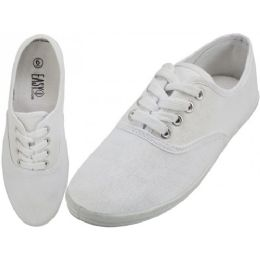 24 Units of Women's Casual Canvas Lace Up Shoes In White - Women's Sneakers