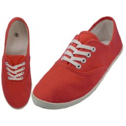 24 Units of Women's Casual Canvas Lace Up Shoes In Red Coral - Women's Sneakers