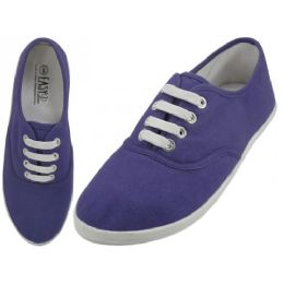 24 Units of Women's Casual Canvas Lace Up Shoes In Purple - Women's Sneakers