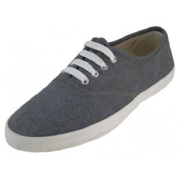 24 Units of Women's Casual Canvas Lace Up Shoes In Gray - Women's Sneakers