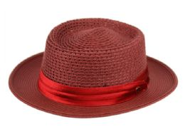 12 Wholesale Richman Brothers Polybraid Hats With Pleat Silk Band In Burgundy