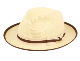 12 Wholesale Richman Brothers Polybraid Fedora Hats With Grosgrain Band In Natural