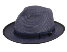 12 Wholesale Richman Brothers Polybraid Fedora Hats With Grosgrain Band In Navy