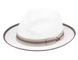 12 Wholesale Richman Brothers Polybraid Fedora Hats With Grosgrain Band In White