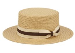 12 Wholesale Richman Brothers Straw Boater Hats With Stripe Band In Light Brown