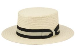 12 Wholesale Richman Brothers Straw Boater Hats With Stripe Band In Natural