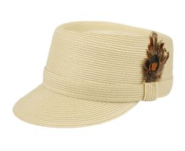 12 Wholesale Richman Brothers Polybraid Cap With Feather In Natural