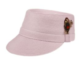 12 Wholesale Richman Brothers Polybraid Cap With Feather In Lavender
