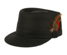 12 Wholesale Richman Brothers Polybraid Cap With Feather In Black