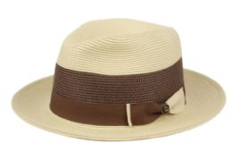 12 Wholesale Richman Brothers Two Tone Polybraid Fedora With Grosgrain Band In Natural/brown