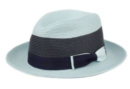 12 Wholesale Richman Brothers Two Tone Polybraid Fedora With Grosgrain Band In Sky Blue/navy