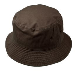 12 Wholesale Plain Cotton Bucket Hats In Dark Brown
