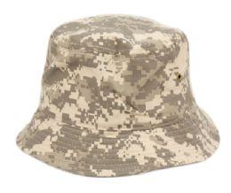 12 Wholesale Plain Cotton Bucket Hats In Digital Green Camo