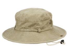 12 Wholesale 100% Washed Cotton Outdoor Bucket Hats W/chin Cord Strap