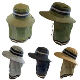 36 Units of Cotton Mesh Reflective Boonie Hat With Mesh Neck Flap Solid - Sun Hats