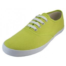 24 Units of Women's Casual Canvas Upper Lace Up Shoe Lime Color - Women's Sneakers