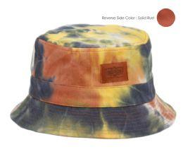 12 Wholesale Tie Dye Cotton Reversible Bucket Hats In Mix Rust