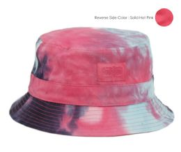 12 Wholesale Tie Dye Cotton Reversible Bucket Hats In Mix Hot Pink