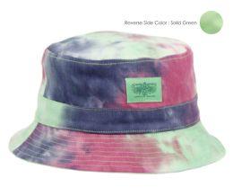 12 Wholesale Tie Dye Cotton Reversible Bucket Hats In Mix Lime Green