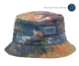 12 Wholesale Tie Dye Cotton Reversible Bucket Hats In Mix Blue