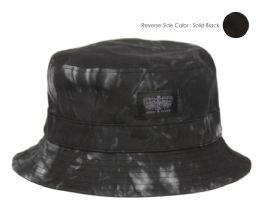 12 Wholesale Tie Dye Cotton Reversible Bucket Hats In Mix Black