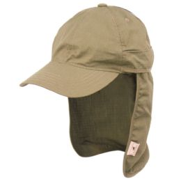 12 Units of Sun Protection Cotton Ripstop Fishing Cap With Removable Neck Flap In Khaki - Hunting Caps