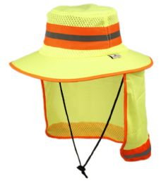 12 Units of Outdoor Camping Mesh Crown Bucket Hat W/neck Flap Cover - Hunting Caps