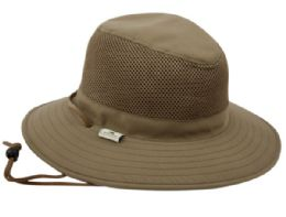 12 Wholesale Outdoor Safari With Mesh And Chin Cord Strap In Olive