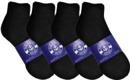12 Bulk Yacht & Smith Mens Lightweight Cotton Sport Black Quarter Ankle Socks, Sock Size 10-13