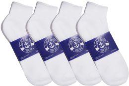 12 Bulk Yacht & Smith Mens Lightweight Cotton Sport White Quarter Ankle Socks, Sock Size 10-13