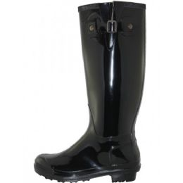 12 Units of Women's 15.5 Inches Water Proof With Buckle Soft Rubber Rain Boots - Women's Boots