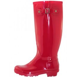 12 Units of Women's 15.5 Inches Water Proof With Buckle Soft Rubber Rain Boots In Red - Women's Boots