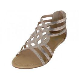 18 Units of Women's Rhinestone Sandals In Rose Gold - Women's Sandals