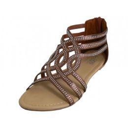 18 Units of Women's Rhinestone Sandals In Bronze - Women's Sandals