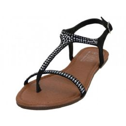 18 Units of Women's Rhinestone Thong Sandals In Black - Women's Sandals