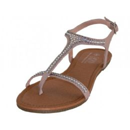 18 Units of Women's Rhinestone Thong Sandals In Rose Gold - Women's Sandals