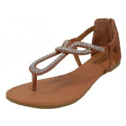 18 Units of Women's Rhinestone Thong Sandals In Brown - Women's Sandals