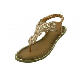 18 Units of Women's Rhinestone Upper Sandals In Rose Gold - Women's Sandals