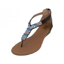 18 Units of Women's Rhinestone Sandals With Back Zipper In Black - Women's Sandals