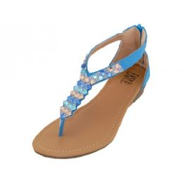 18 Units of Women's Rhinestone Sandals With Back Zipper In Blue - Women's Sandals