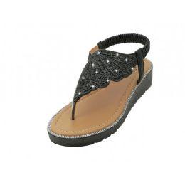 18 Units of Women's Rhinestone Upper Sandals In Black - Women's Sandals