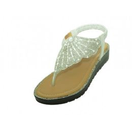 18 Units of Women's Rhinestone Upper Sandals In Silver - Women's Sandals