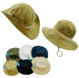24 Wholesale Floppy Boonie Hat [solid Colors] SnaP-Up Sides