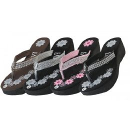 24 Units of Womens Flower Print Wedge With Rhinestone Look Flip Flops - Women's Sandals