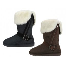 24 Units of Women's Micro Suede Foldover Warm Winter Boots With Faux Fur Lining And Side Zipper - Women's Boots