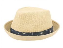 24 Wholesale Kids Paper Straw Fedora Hats With Band